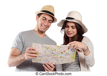 Young couple looking at the map.