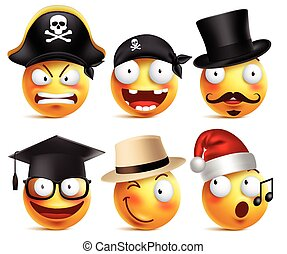 Smiley face vector set of funny toothless pirate, magician,...
