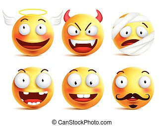 Vector smileys with funny faces - Set of vector smileys with...