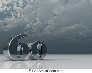 sixty - chrome number sixty - 60 - under dark cloudy sky -...