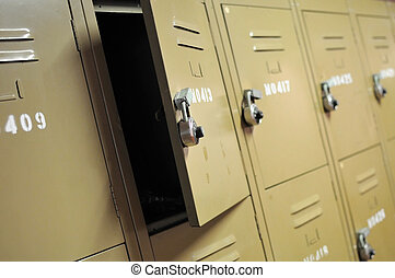 Old lockers with locks - Old, rusty, metal lockers with...
