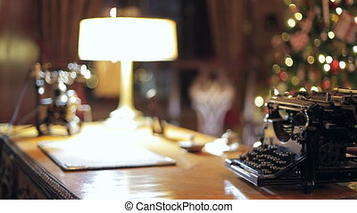 Retro Christmas interior with old typewriter - Old...