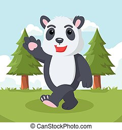 panda walking on forest