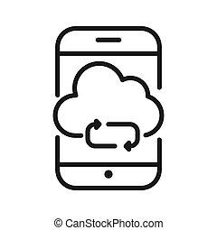 mobile apps syncing vector illustration design