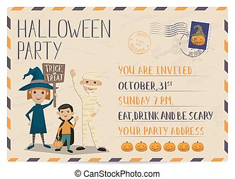 Halloween party vintage postcard invitation with funny kids...