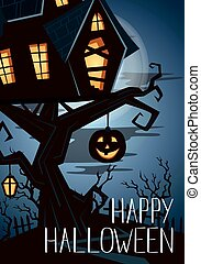 Happy Halloween party banner with spooky castle on tree in...