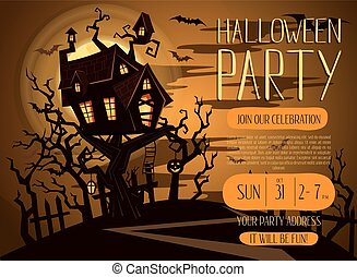 Halloween party invitation with spooky castle