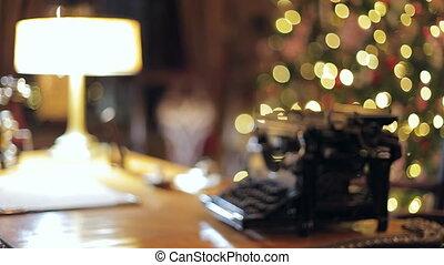 Retro Christmas interior with old typewriter