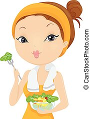 Girl Post Workout Salad - Illustration of a Woman Eating...