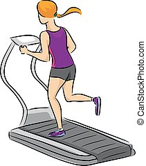 Girl Treadmill - Illustration of a Woman Running on a...