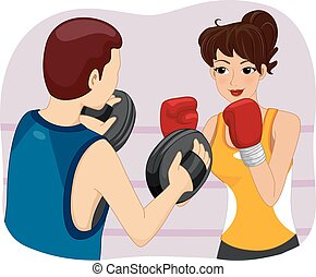 Girl Boxing Practice - Illustration of a Woman Getting...
