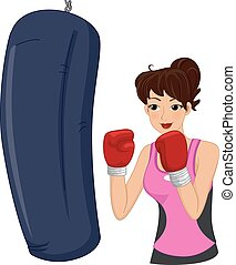 Girl Boxing Punching Bag - Illustration of a Woman Hitting a...