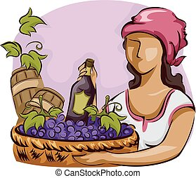 Girl Wine Grapes