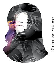 Girl Silenced Oppression - Illustration of a Woman With Her...