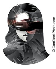 Girl Visual Censorship - Illustration of a Woman With Her...