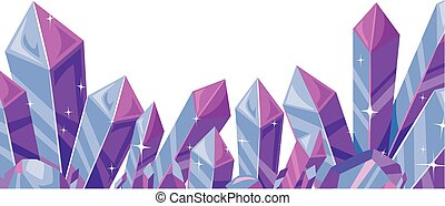 Crystals Border - Border Illustration Featuring a Cluster of...