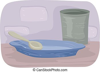 Empty Plate - Illustration Featuring an Empty Glass and...
