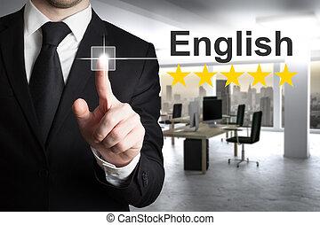 homem negócios, inglês, escrita, ar
