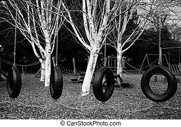 Tyre swings at the playground