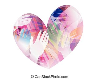 Hands Heart - Double Exposure Illustration of Hands Inside a...