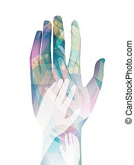 Hands Volunteerism - Double Exposure Illustration of Hands...