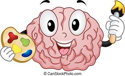 Mascot Brain Painter - Mascot Illustration of a Brain...