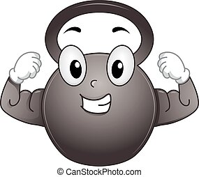 Mascot Kettle Bell Strong - Mascot Illustration of a Kettle...