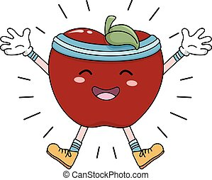 Mascot Apple Exercise Energized - Mascot Illustration of an...