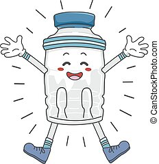 Mascot Bottled Exercise Energized - Illustration of an...