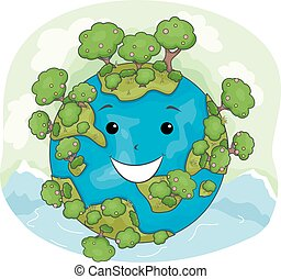 Mascot Earth Nature Happy
