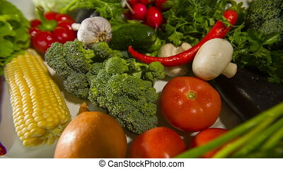 Different raw vegetables on a table