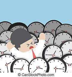 Businessman drowning in clock