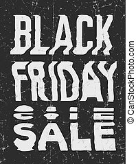 Black Friday Sale glitch art typographic poster. Glitchy...