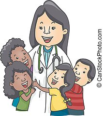 Kids Pediatrician - Illustration of Children Hugging a...