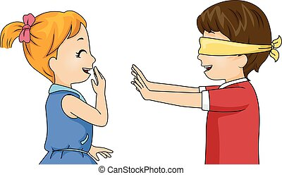 Kids Blindfold Game - Illustration of Children Playing a...