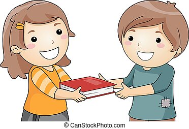 Kids Book Give - Illustration of a Little Girl Giving a Book...