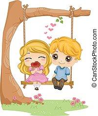 Kids Couple Swing Date