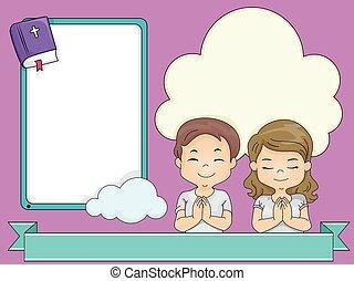 Kids Praying Ribbon Frames - Frame Illustration of Children...