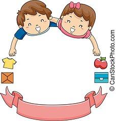 Kids Volunteer Ribbon Frame - Illustration of Children and a...