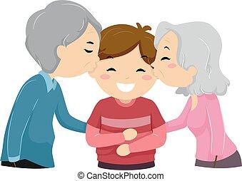 Stickman Kid Boy Kiss Grandparents