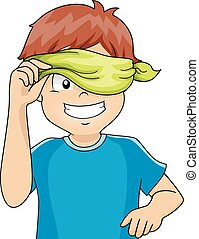 Kid Boy Blindfold Peek - Illustration of a Blindfolded Kid...