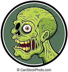 Zombies - Vector illustration of Cartoon Zombie face