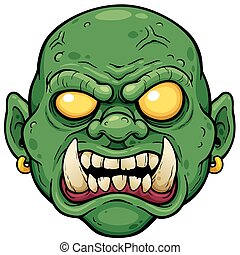 Zombies - Vector illustration of Cartoon Zombie face