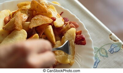 potato fried and bacon