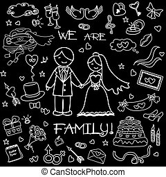 Wedding set, the words We are a family! On the black background