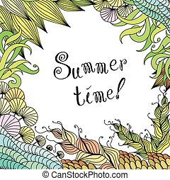 Summer zentangle floral frame background