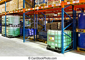 Liquids warehouse - Flammable liquids materials in big...