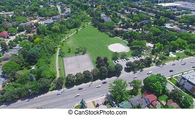 Aerial shot over suburbs of North America - Flyover shot...