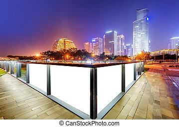Hangzhou, China - China Hangzhou skyscrapers, night...
