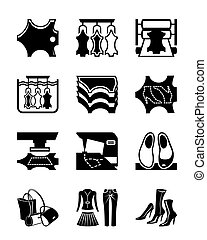 Production of leather clothes and shoes - vector...